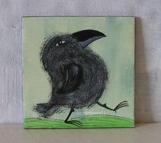 BIN GUT DRAUF ! von Herbivore11 Rabe Raben Unikat Minibild Inchie Crow Raven süß
