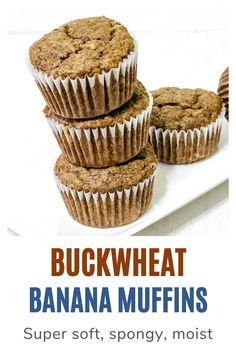 Eggless buckwheat banana muffins recipe - made using buckwheat flour (kuttu ka atta), banana, butter and brown sugar. The ingredients used in the recipe are allowed in Hindu fasting or vrat or upvaas. So these muffins can be eaten during the vrat or fast like Navratri, ekadasi. These muffins are very soft, moist and spongy. The taste and texture will be different than regular muffins. Healthy Muffin Recipes, Healthy Muffins, Navratri Recipes, Chocolate Banana Muffins, Eggless Baking, Gluten Free Muffins, Buckwheat, Curry Recipes, Indian Food Recipes