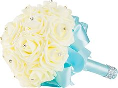 Handmade Wedding Bouquet with Ivory Flower and Light Blue Ribbon and Handle by WorldofWeddings  Artificial Ivory Foam Rose Bridal Bouquet for Weddings ** You can find more details by visiting the image link. #ArtificialPlants