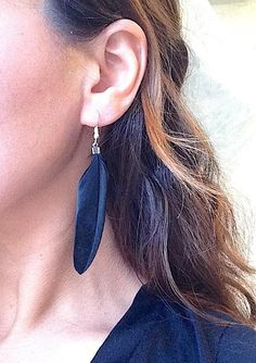 Black Feather Earrings, Real Feathers, Gothic Dangle Earring, Simple, with Silver Hooks, Jet Black, Lightweight, Festival, Dark Jewelry