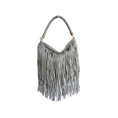 Alexis Italian Fringed Light Grey Suede Leather Hobo Satchel Bag - £49.99 Leather Hobo Bags, Leather Shoulder Bag, Shoulder Bags, Shopper Bag, Satchel Bag, Suede Leather, Soft Leather, Italian Women, Italian Leather