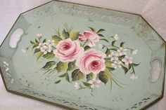 Hand Painted Tole Tray, Vintage Toleware Serving Tray, Tea Tray Rose