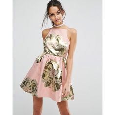 ASOS Pinny Jacquard Mini Prom Dress (3,360 PHP) ❤ liked on Polyvore featuring dresses, pink, floral prom dresses, pink fit-and-flare dresses, high neck prom dresses, floral print prom dresses and fit and flare dress