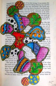 """""""Inside the Petals"""" Inktense pencils, zentangle patterns on an old book page."""