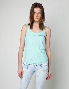 Bershka Ireland - BSK front lace sleeve T-shirt
