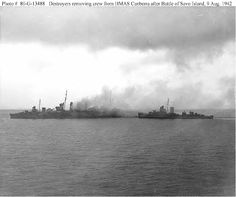 8-9 August 1942 - Battle of Savo Island, near Guadalcanal - This was a naval battle of the Pacific Campaign of World War II, between the Imperial Japanese Navy and Allied naval forces. Americans lost three cruisers, the Australians one - The sinking of the Canberra by 24 Japanese shells that hit the ship.