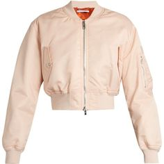 Givenchy Cropped twill bomber jacket (21.355 ARS) ❤ liked on Polyvore featuring outerwear, jackets, givenchy, light pink, pocket jacket, twill bomber jacket, padded jacket and givenchy jacket