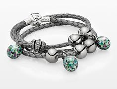 Triple leather bracelet with murano drops and silver clips #PANDORAbracelet