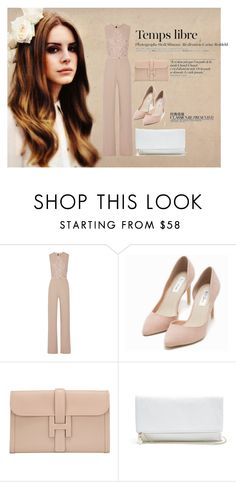 """Untitled #247"" by ashola18 ❤ liked on Polyvore featuring Mode, Elie Saab, Nly Shoes, Hermès, GUESS, Hedi Slimane, Chanel, fashionista, lightpink und widelegjumpsuit"