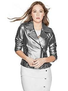 Metallic Moto Jacket | GUESS.com