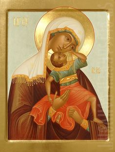 Order a painted icon of the Mother of God Leaping for Joy in the Icon Painting Studio of St Elisabeth Convent Byzantine Icons, Byzantine Art, Religious Images, Religious Art, Paint Icon, Christian Artwork, Mama Mary, Blessed Mother Mary, Painting Studio