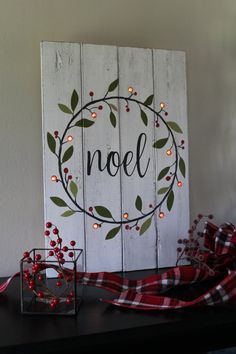 Noel Sign Lighted Christmas Sign Hand Painted Wood Sign