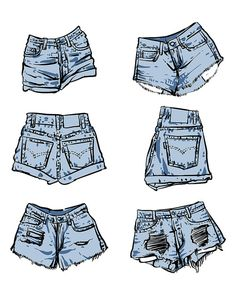 Hand drawn vector Lady fashion accessories on a white background. (EPS, JPG) - Healty fitness home cleaning Shorts Drawing, Jeans Drawing, Drawing Clothes, Fashion Mode, Denim Fashion, Fashion Art, Womens Fashion, Dress Design Sketches, Fashion Design Sketches