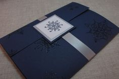 Navy Blue and Silver Snowflake Handcrafted Pocket fold Wedding Invitation Ensemble | Moonlight Creations