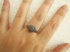 Vintage Heart Marcasite Sterling Silver Ring Size by SwanTreasures, $25.50