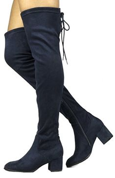 Women s Laurence Dark Blue Over The Knee Thigh High Chunky Heel Boots Size  10 M US a0b1567a88b6