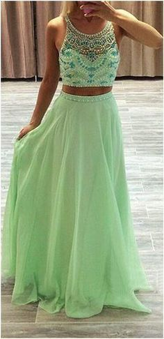 Cute green chiffon two pieces prom dress for teens, homecoming dress 2016 #coniefox