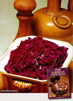 """Danish Sweet & Sour Red Cabbage / Dansk Sursøt Rødkål - A recipe from """"European Favourites"""" (Europeiske Favoritter) published by Collins in 1973 This dish can be prepared ahead and reheated. It can also be served cold and is a must both on a Danish and a Norwegian Christmas table. http://recipereminiscing.wordpress.com/"""