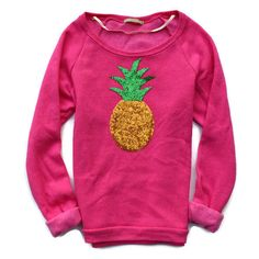 Pineapple Shirt Sweatshirt Sequin Pineapple Patch Slouchy Pineapple... ($48) ❤ liked on Polyvore featuring tops, hoodies, sweatshirts, green, women's clothing, sequin top, sequin shirt, pink sweatshirts, pink sequin shirt and green sequin shirt
