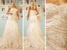 Beaded Camille Garcia Wedding dress with a drop waist and ruffle skirt. Bridal Gowns, Wedding Dresses, Ruffle Skirt, Exclusive Collection, Drop Waist, Custom Made, One Shoulder Wedding Dress, Ready To Wear, Wedding Day