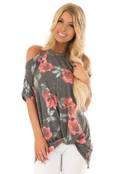 cfebe8e693ad Lime Lush Boutique - Charcoal Floral Print Cold Shoulder Top with Front  Twist, $36.99 (