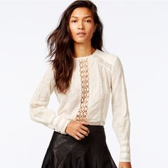 Free people ivory crochet trim top szM NWT Beautiful, trend, boho top Free People Tops