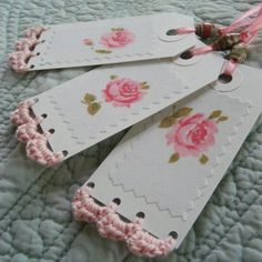 Nice idea!  DIY gift tags using a recycled printed sheet.  creator sold on ebay.  Vintage Rose Handmade Gift Tags