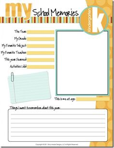 I saw this free school memory kit from Confessions of a Homeschooler and thought it was really cute for back to school. You can print a page for each school year starting in preschool and going th… School Teacher, School Days, Back To School, School Fun, School Paper Organization, Scrapbook Organization, School Scrapbook, Scrapbook Layouts, Scrapbooking
