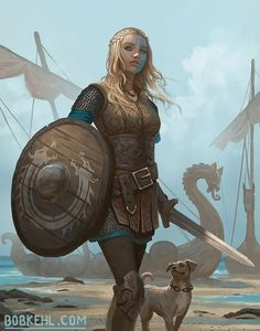 Shield-maiden by Bob Kehl : ReasonableFantasy Dungeons And Dragons Characters, Dnd Characters, Fantasy Characters, Female Characters, Fantasy Warrior, Female Viking Warrior, Warrior Concept Art, Woman Warrior, Fantasy Women