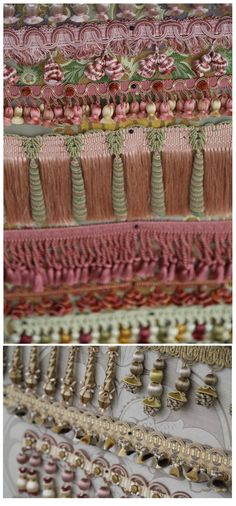 Slim ribbon /& bead key tassel Fabric blind decoration sewing trim sew trimming