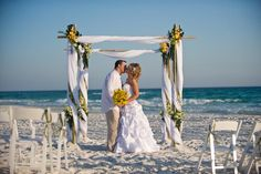 Yellow and green beach wedding..!