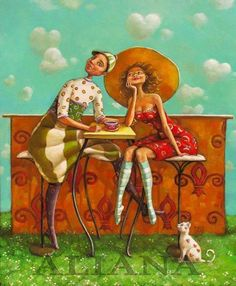 """fine art gallery of paintings - """"Naive"""" by Mariana Kalacheva Art And Illustration, Illustrations And Posters, Graphic Design Illustration, Naive Art, Coffee Art, Hot Coffee, Coffee Time, Whimsical Art, Types Of Art"""