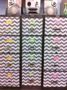 filing cabinet makeover... chevron contact paper does wonders :)