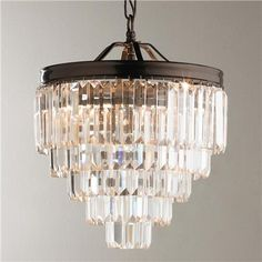 Modern Faceted Glass Layered Mini Chandelier - Convertible