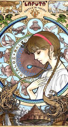 Takumi Kanehara's art nouveau Studio Ghibli series tarot cards - Sheeta. Done with ink pen & alcohol-based markers.