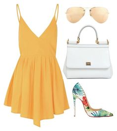 """""""Reuniam"""" by marianafvas ❤ liked on Polyvore featuring beauty, Glamorous, Christian Louboutin, Dolce&Gabbana and Ray-Ban"""