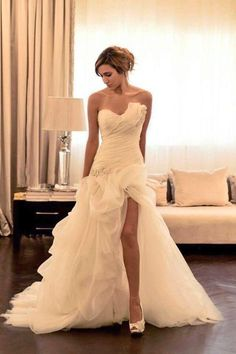Gorgeous wedding dress with slit
