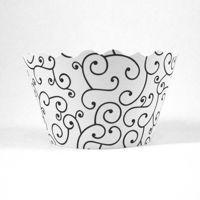 Swirl Black & White Cupcake Wrapper