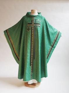 Benedictine style green ordinary time vestment with cross