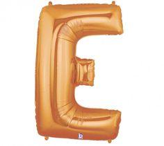 Folienballon Buchstabe E Gold mit Gas