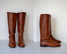 $88 -- Vintage brown Leather Boots / Etienne Aigner Boots / NOS
