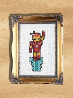 Marvel Cross Stitch Pattern - Iron Man - Beginner 14ct Aida Marvel Cross Stitch, Counted Cross Stitch Patterns, Cross Stitching, Iron Man, Ninja, Crocheting, Avengers, Nerd, Crafty