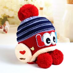 99df9ca89a5 Big Eyes Pattern Thickened Knitted Cap. Baby Girl ...