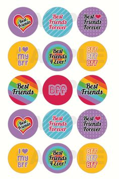 INSTANT DOWNLOAD - Best Friends BFF Bottle Cap Images - 4x6 Digital Collage Sheet - 1 Inch Circles for Bottlecaps, Hair Bow Centers, & More on Etsy, $1.25 Bottle Top Crafts, Bottle Cap Projects, Bottle Cap Art, Bottle Cap Images, Printable Designs, Printable Stickers, Bff Images, Collage Sheet, Scrapbook