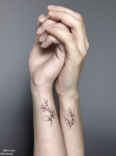 "Lara Maju | Hamburg Germany ""sisters jasmine for laura laurel for jasmin handpoked"" @cocoschwarz"