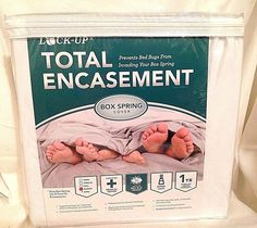JT Eaton QUEEN Lock-Up Total Encasement Bed Bug Protection Box Spring Cover #JTEaton