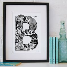 This quirky and detailed print lets you dip your toes in the sea before taking you on a tour of Brighton's most recognisable buildings.    This is