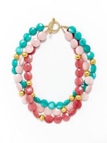 3-Strand Cherry, Teal, & Light Pink Quartz Necklace by KEP