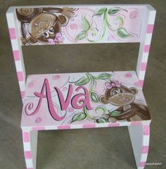 Hand Painted Girl Monkey Flip Step Stool by SassyfrasDesignz, $49.99