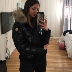 9c88d81e927 Moncler Jacket Black with real fur (raccoon) and filler with down feather.  So warm and comfy. The fur on the hood is removable. No trade.
